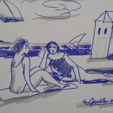 Arte: BAÑISTAS, DIBUJO ROTULADOR DE AGUILAR MORE, 20X29 CM. Lote 56008653