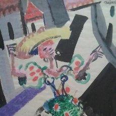 Arte: ACRILICO TECNICA MIXTA SOBRE PAPEL, BAILAORA, FIRMADO AGUILAR MORE, SIN ENMARCAR 23X31 CM. Lote 56011257