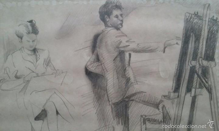 TALLER DE DIBUJO, DIBUJO A LAPIZ RETRATO, FIRMADO AGUILAR MORE 1945, SIN EMMARCAR 20X28CM (Arte - Dibujos - Contemporáneos siglo XX)
