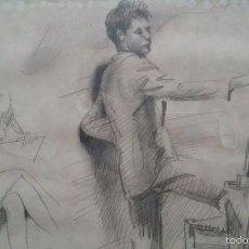 Arte: TALLER DE DIBUJO, DIBUJO A LAPIZ RETRATO, FIRMADO AGUILAR MORE 1945, SIN EMMARCAR 20X28CM. Lote 56011427