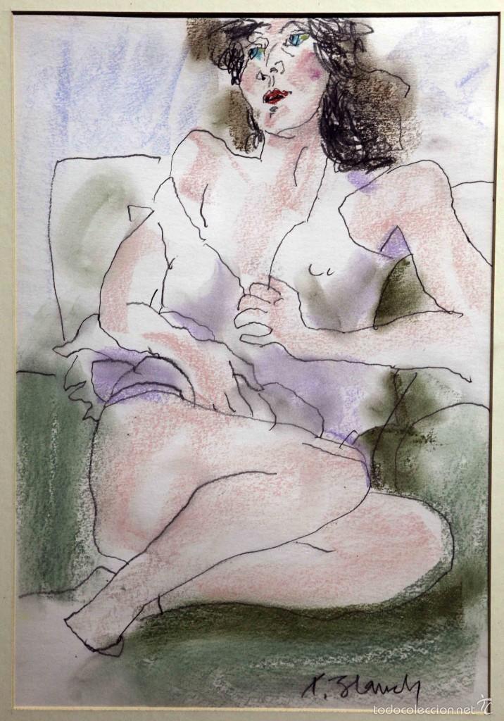 XAVIER BLANCH, TÉCNICA MIXTA SOBRE PAPEL (Arte - Dibujos - Contemporáneos siglo XX)