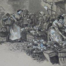 Arte: DIBUJO ORIGINAL DE SANTIAGO REGIDOR GOMEZ - MADRID 1866 - 1942 , 32 X 27 CM BUEN ESTADO. Lote 56299436