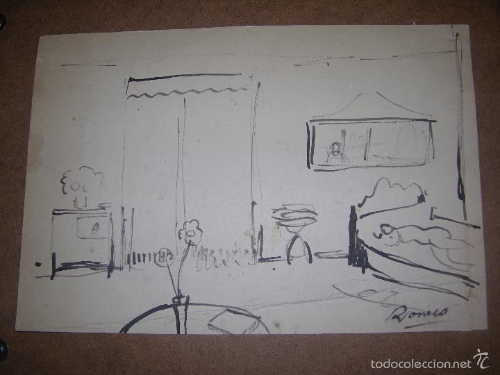 DIBUJO ORIGINAL DE DIONISIO ROMEO MED 32X22CM (Arte - Dibujos - Contemporáneos siglo XX)