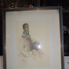 Arte: DIBUJO IMPRESO DE DON QUIJOTE Y SANCHO. MARCO: 23 X 28,5 CMS.. Lote 56480923