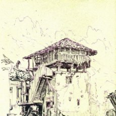 Arte: DIBUJO, FRANCISCO NÚÑEZ DE CELIS, ORREO EN MOGROVEJO. Lote 56535981