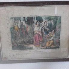 Arte: PRECIOSO CUADRO PINTADO A PLUMILLA DEL SIGLO XIX-LA CASTA SUZANA. Lote 56649043