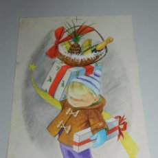 Arte: (N17) DIBUJO ORIGINAL CRISMA NAVIDEÑO ( NAVIDAD ) POR HODLER - 24 X 35 CM, BUEN ESTADO. Lote 56698664