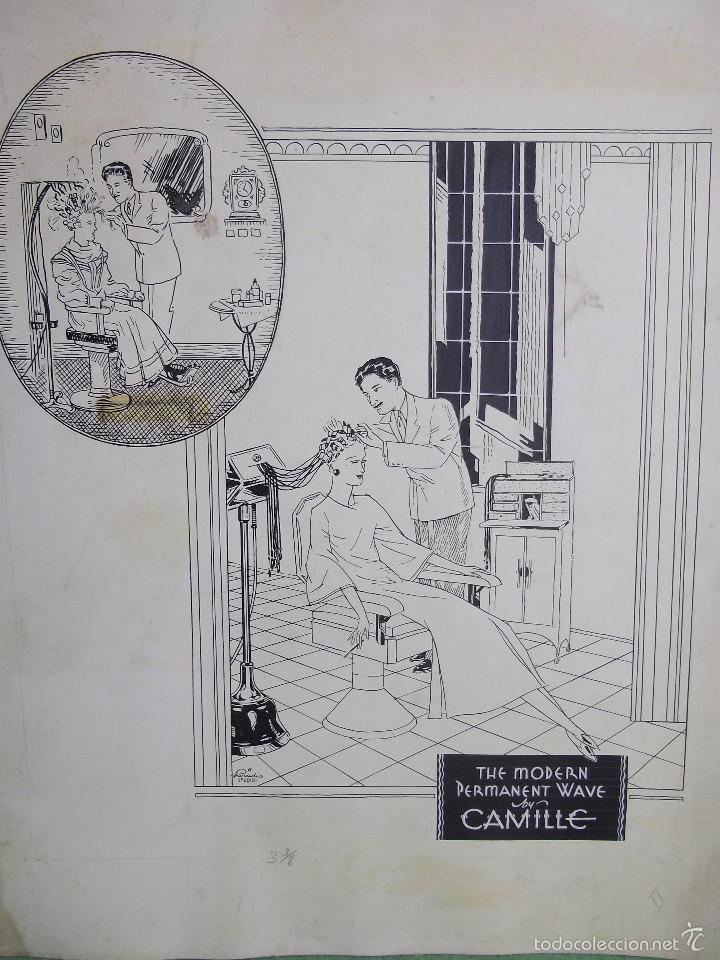 GENIAL DIBUJO ORIGINAL TINTA PELUQUERO AÑOS 30 MODERNISTA MODERN PERMANENT WAVE PELUQUERO ANTIGUO (Arte - Dibujos - Contemporáneos siglo XX)