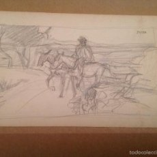 Arte: GINÉS PARRA. PERSONAJE Y MULAS.. Lote 56863237