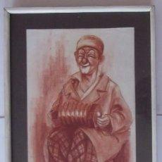 Arte: PAYASO TOCANDO EL ACORDEON - DIBUJO A SANGUINA - FIRMADO COZAR. Lote 56883532