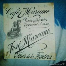 Arte: ORIGINAL PUBLICIDAD CAFES MARCANO. JOSE MARCANO. JEREZ DE LA FRONTERA FINALES SIGLO XIX O PRINCIPIO. Lote 56883747