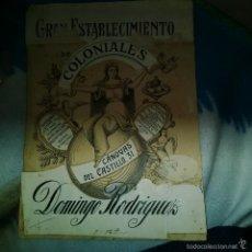 Arte: ORIGINAL PUBLICIDAD COLONIALES DOMINGO RODRIGUEZ CANOVAS DEL CASTILLO 31 FINALES SIGLO XIX O PRINCIP. Lote 56883798