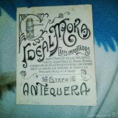 Arte: ORIGINAL PUBLICIDAD CAFES IDEAL MOKA ESTEPA 16 ANTEQUERA MALAGA FINALES SIGLO XIX O PRINCIPIOS SIGLO. Lote 56883918