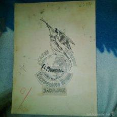 Arte: ORIGINAL PUBLICIDAD CAFES EL MUNDIAL VICTORIANO RUBIO BADAJOZ FINALES SIGLO XIX O PRINCIPIOS SIGLO X. Lote 56884001