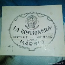 Arte: ORIGINAL PUBLICIDAD LA BOMBONERA SEVILLA 2 MADRID FINALES SIGLO XIX O PRINCIPIOS SIGLO XX. Lote 56884039