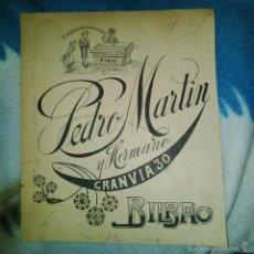 Arte: ORIGINAL PUBLICIDAD CHOCOLATES PEDRO MARTIN GRAN VIA 30 BILBAO FINALES SIGLO XIX O PRINCIPIOS SIGLO . Lote 56884077
