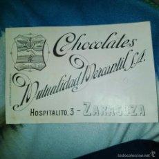 Arte: ORIGINAL PUBLICIDAD CHOCOLATES MUTUALIDAD MERCANTIL HOSPITALITO 3 ZARAGOZA FINALES SIGLO XIX O PRINC. Lote 56884100