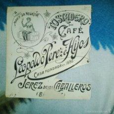 Arte: ORIGINAL PUBLICIDAD CAFE LA NEGRITA LEOPOLDO PEREZ JEREZ DE LOS CABALLEROS BADAJOZ FINALES SIGLO XIX. Lote 56884125