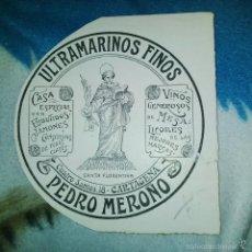 Arte: ORIGINAL PUBLICIDAD ULTRAMARINOS PEDRO MEROÑO CUATRO SANTOS 18 CARTAGENA MURCIA FINALES SIGLO XIX O. Lote 56884200