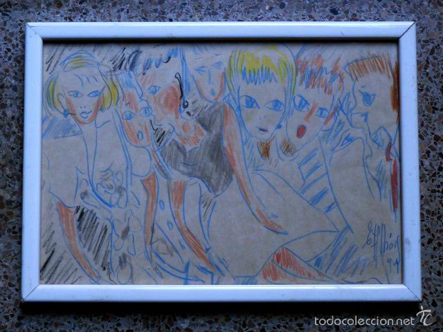 EXTRAÑO DIBUJO A COLORES.FIRMA ILEGIBLE.1991 (Arte - Dibujos - Contemporáneos siglo XX)