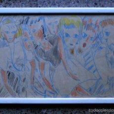 Arte: EXTRAÑO DIBUJO A COLORES.FIRMA ILEGIBLE.1991. Lote 56982642