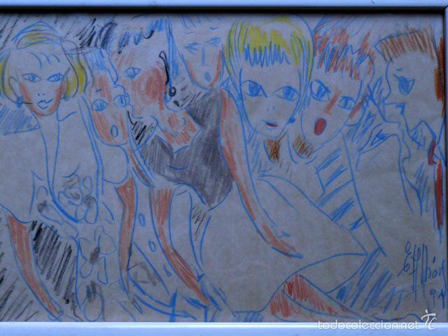Arte: extraño dibujo a colores.Firma ilegible.1991 - Foto 2 - 56982642