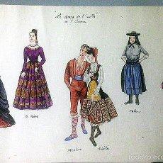 Arte: FIGURINES PARA LA OBRA DE ALEJANDRO CASONA, LA DAMA DEL ALBA, REPRESENTADA EN PARIS. 1948. Lote 57077148