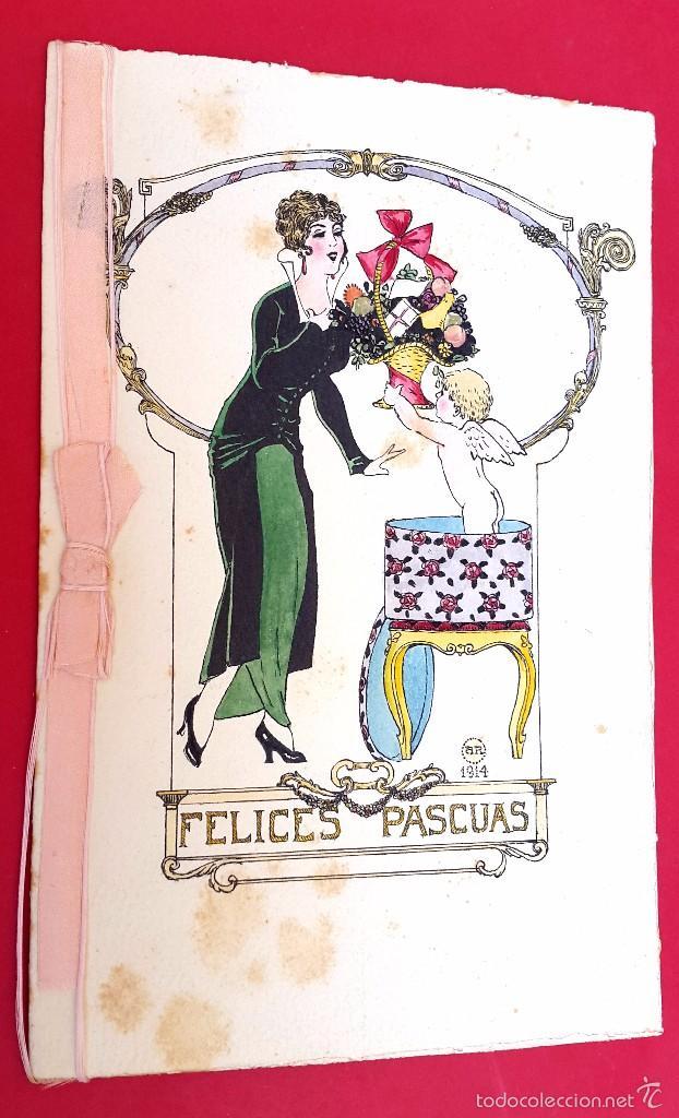 DIBUJO AMADEO ROTTIER - 1915 - ART DÉCO - DÍPTICO - TINTA Y ACUARELA (Arte - Dibujos - Contemporáneos siglo XX)