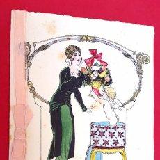 Arte: DIBUJO AMADEO ROTTIER - 1915 - ART DÉCO - DÍPTICO - TINTA Y ACUARELA. Lote 57102267