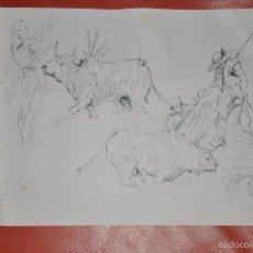Arte: TAUROMAQUIA , DIBUJO ORIGINAL A TINTA DE TEMA TAURINO FIRMADO ILEGIBLE . Lote 57160620