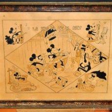 Arte: LA FIESTA DE MICKEY. DIBUJO ORIGINAL FECHADO DEL AÑO 1944 Y FIRMADO POR J. PI SABATES. Lote 57164050
