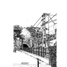 Arte: DIBUJO ORIGINAL A TINTA 'TUNEL DE MONTGAT' POR MERCÈ COTS. Lote 181687722