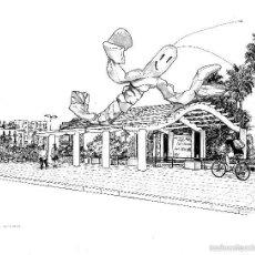 Arte: DIBUJO ORIGINAL A TINTA 'GAMBA DEL MOLL DE LA FUSTA' POR MERCÈ COTS - 2010. Lote 57194190