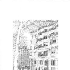 Arte: DIBUJO ORIGINAL A TINTA 'LA PEDRERA DE BARCELONA' POR MERCÈ COTS - 2010. Lote 57194282