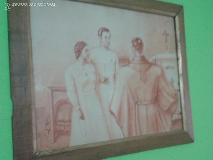GRAN CUADRO ENMARCADO TECNICA SANGUINA FIRMADO VENANCIO 1941 (Arte - Dibujos - Antiguos hasta el siglo XVIII)