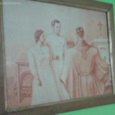 Arte: GRAN CUADRO ENMARCADO TECNICA SANGUINA FIRMADO VENANCIO 1941. Lote 57318037