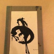 Arte: DIBUJO ORIGINAL - RODEO - CABALLOS - HORSES - COWBOY - VAQUERO - SOMBRAS - SILUTEA NEGRA - ABATI. Lote 57338979