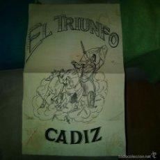 Arte: ORIGINAL PUBLICIDAD CADIZ EL TRIUNFO SIGLO XIX O PRINCIPIOS SIGLO XX. Lote 57563701