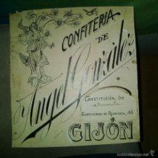 Arte: ORIGINAL PUBLICIDAD GIJON CONFITERIA ANGEL GONZALEZ CONSTITUCION 10 GUMERSINDO DE AZCARATE 15 SIGLO . Lote 57563792