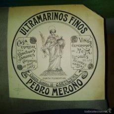 Arte: ORIGINAL PUBLICIDAD CARTAGENA MURCIA CUATRO SANTOS 18 ULTRAMARINOS PEDRO MEROÑO SIGLO XIX O PRINCIPI. Lote 57564330