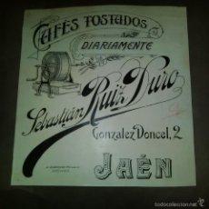 Arte: ORIGINAL PUBLICIDAD JAEN GONZALEZ DONDEL 2 CAFES SEBASTIAN RUIZ DURO FINALES SIGLO XIX O PRINCIPIOS . Lote 57564390
