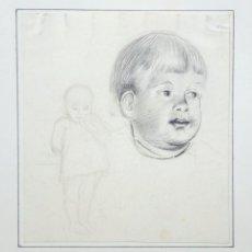 Arte: RETRATO ORIGINAL A LAPIZ DE DOS NIÑOS, ESCUELA VALENCIANA DE FINALES DEL SIGLO XIX. Lote 57583813