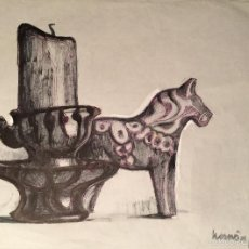 Arte: HERNÀN PICÓ DIBUJO A TINTA SOBRE PAPEL. Lote 57633750