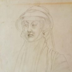 Arte: RETRATO ORIGINAL A CARBONCILLO, ESTILO OLD MASTER RENACENTISTA, GRAN CALIDAD. Lote 57745194
