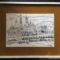 Arte: J. PUJOL 1969 BONITO DIBUJO A ROTULADOR SOBRE PAPEL DEL KREMBLIN MOSCÚ. Lote 57761768