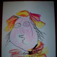 Arte: ALBERTO ULLOA DIBUJOS DEDICADOS EN LA EXPOSICION AL GALERISTA JORGE ONTIVEROS MED 50X35 AÑO 2008. Lote 57801570