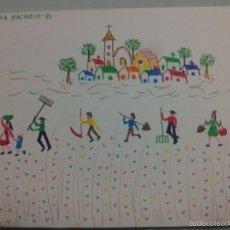 Arte: CONJUNTO DE SEIS PINTURAS NAÏF. M. PAZ LANCHA PACHECO 1980. Lote 57857073