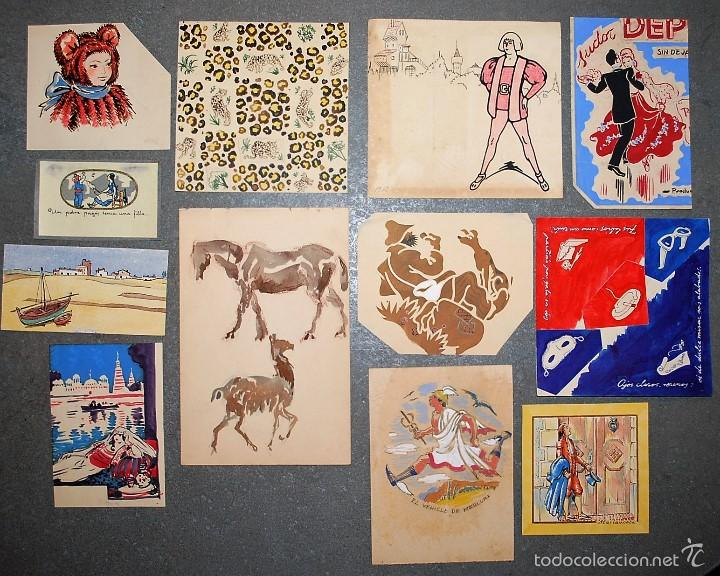 COLECCIÓN DE 12 PEQUEÑOS DIBUJOS SIN FIRMAR, PRINCIPIOS SIGLO XX. (Arte - Dibujos - Contemporáneos siglo XX)