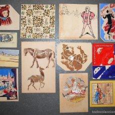 Arte: COLECCIÓN DE 12 PEQUEÑOS DIBUJOS SIN FIRMAR, PRINCIPIOS SIGLO XX.. Lote 58061687