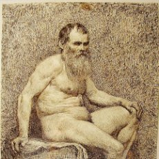 Arte: DESNUDO. DIBUJO A PLUMILLA. AUTOR: VICTORIANO CODINA LANGLIN (1844-1911). FIRMADO Y FECHADO.. Lote 58126166
